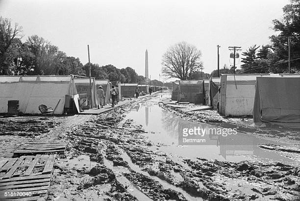 6/22/1968Washington DC When rain falls on Resurrection City the plywood community that the antipoverty movement erected on the Mall near the Lincoln...