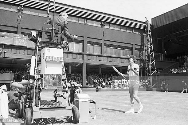 6/22/1981Wimbledon England John McEnroe is shown approaching the umpire to contest a call He went on to argue with the ump attempt to break his...