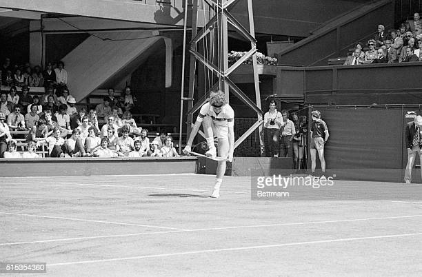 6/22/1981Wimbledon England John McEnroe is shown trying to break his racquet with his foot here 6/22 after an argument over a call He was warned by...