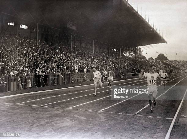 6/23/1924Paris France Alf Leconey of the US finishes the final 400 meter relay race in which the American team broke its own world record of the...