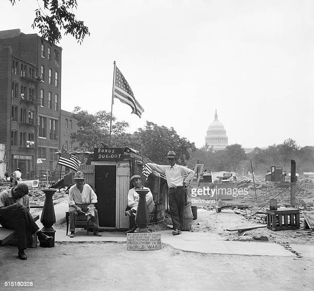 6/23/1932Washington DC The capitol in the background overlooks this dugout at Camp Marks Washington DC The place is 'home' of these exservicemen who...