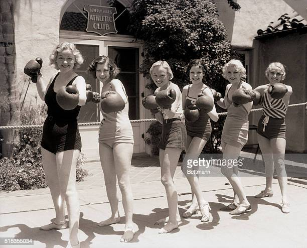6/23/1933Beverly Hills CA Knockouts everyone are these pretty members of the 'Nine O'Clock Revue' who line up in battle formation during a workout at...