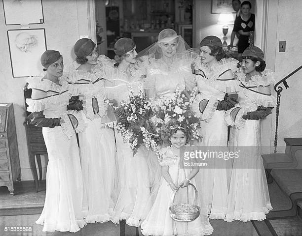 6/23/1933Hollywood CA Left to right Eleanor Holm Patricia Ellis Anita Louise Lona Andre and Toshi Mori and baby Shirley Jane Temple put on a fashion...