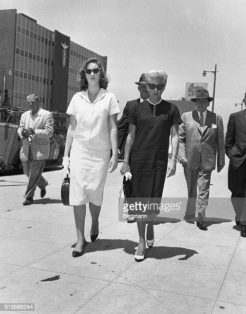6/23/1958Hollywood CA Cheryl Crane talks with her mother Lana Turnerin the office of attorney William Pollack where depositions are being taken by...