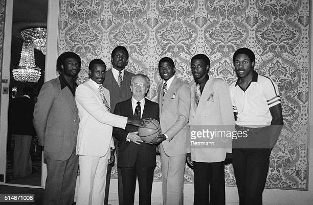 6/25/1979New York NY First round choices in the NBA draft June 25 included this group of players shown posing with NBA Commissioner Larry O'Brien...