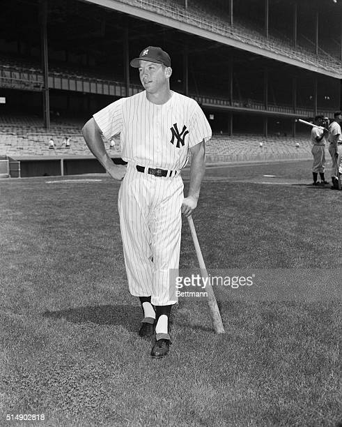 6/26/1953Mickey Mantle New York Yankees ball player is shown leaning on his bat Full Length