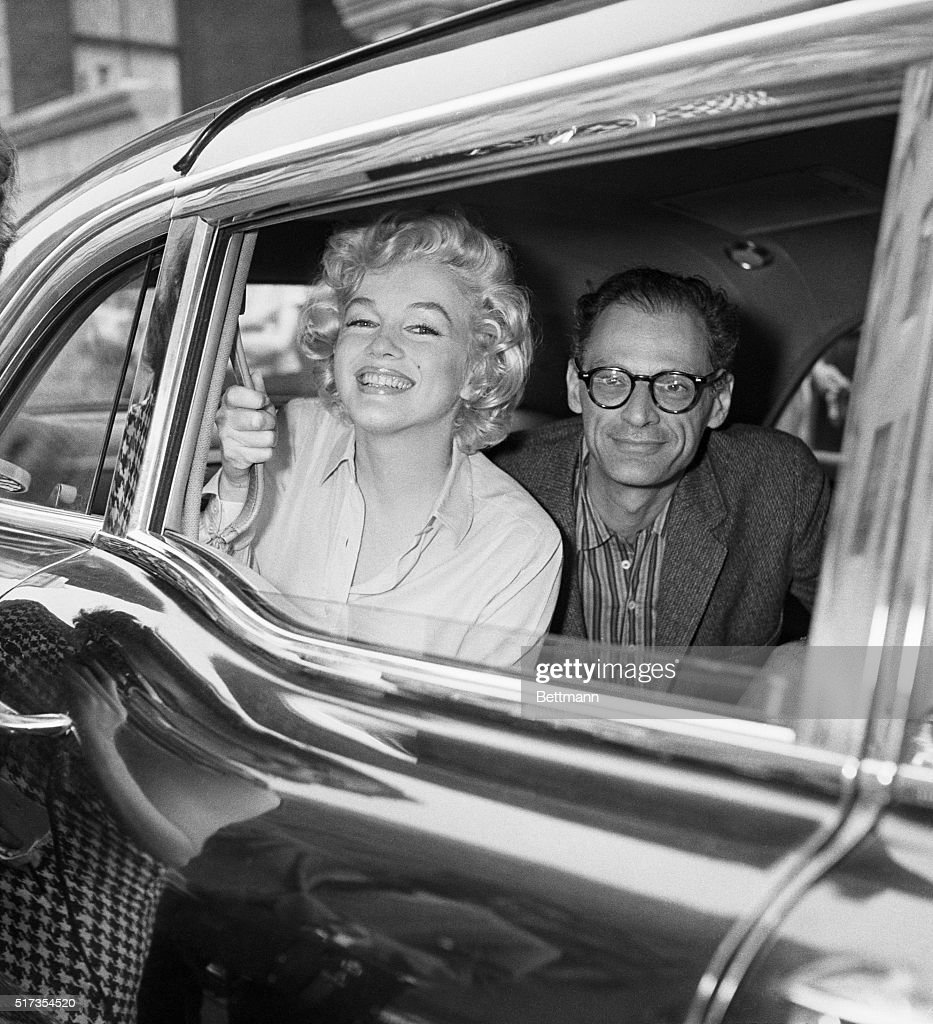 Marilyn Monroe & and Arthur Miller leaving Lenox Hill Hospital after her gynecological surgery.