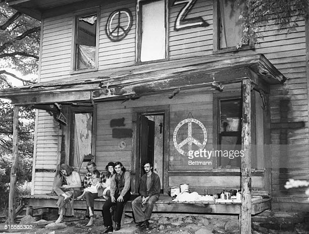 6/26/1968Meadville PA Hippies sit on the porch of an old farm house which they occupied a few weeks ago Health authorities say some of the hippies...