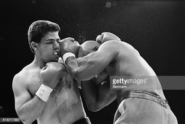 6/26/1988Atlantic City New JerseyFormer heavyweight champion George Foreman rocks Carlos Hernandez in the fourth round of their fight in the last...