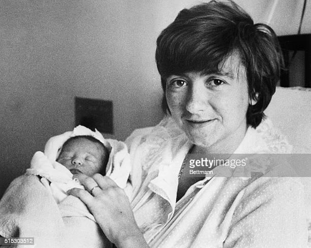 6/27/1962Paris France French novelist Francoise Segan holds her newborn 5pound son Denis at the American hospital in paris june 27th Miss Segan...