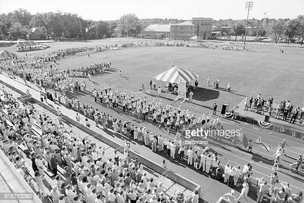 6/27/87St Louis Missouri Over 3000 athletes 55 and older from 45 states and Canada parade past the podium during the opening ceremonies 6/27 of the...