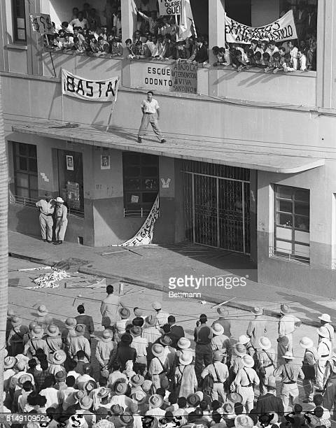 Tegucigalpa, Honduras-View of a phase of the demonstration staged by Honduran students, sympathetic to the red-tinged government of Guatemala, at the...