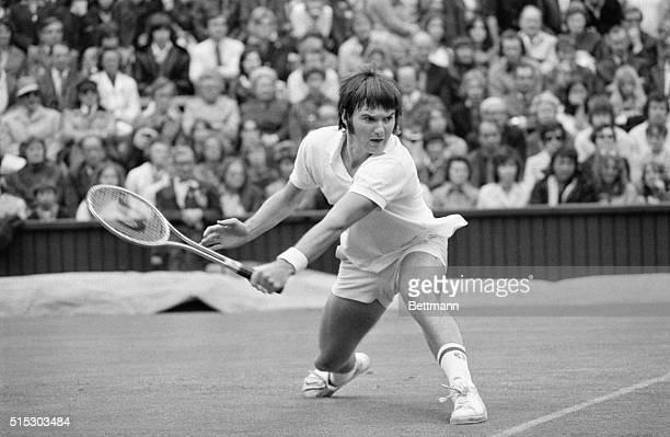 Wimbledon,England- Jimmy Connors of the US is a study in concentration during his singles match against Austrailia's Phil Dent at Wimbledon Tennis...