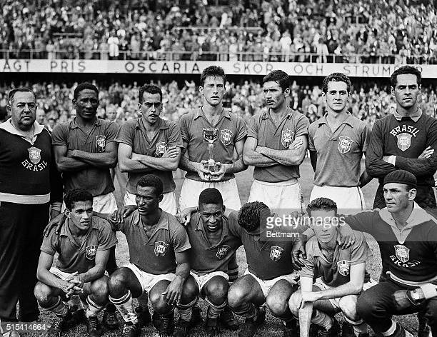 6/29/1958Stockholm Sweden Members of Brazil's soccer team pose together after defeating Sweden to win the world soccer championship here 6/29 It was...