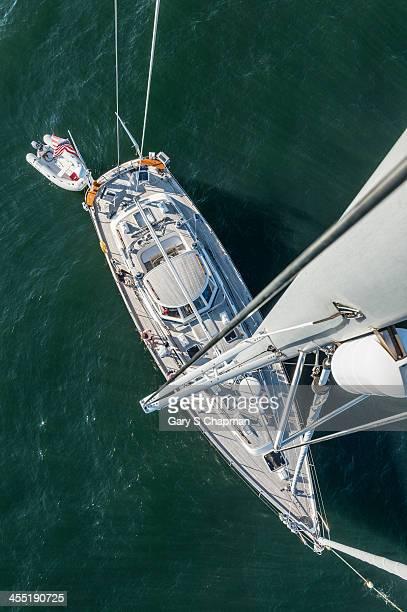 62ft sailboat at anchor from top of mast