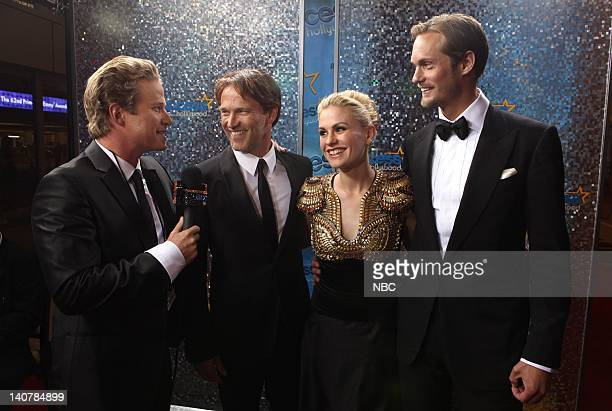 THE 62nd PRIMETIME EMMY AWARDS Pictured Billy Bush interviews presenters Stephen Moyer Anna Paquin and Alexander Skarsgard in the One on One Room...