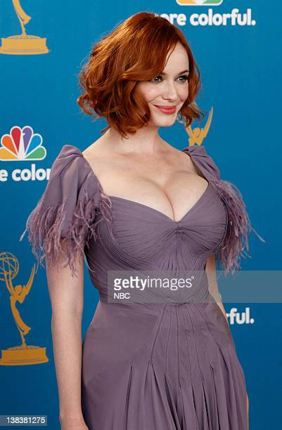 """62nd PRIMETIME EMMY AWARDS -- Pictured: Christina Hendricks from """"Mad Men"""" wearing a Zac Posen gown, winner Outstanding Drama Series of in the press..."""