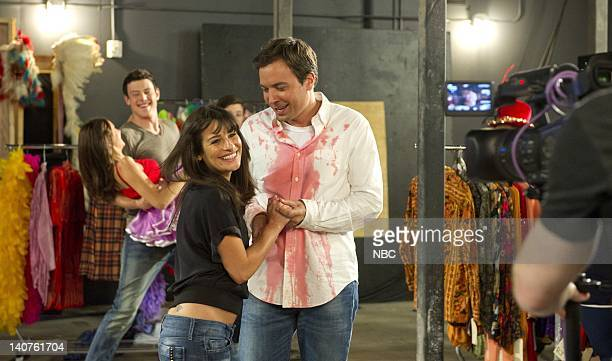 THE 62nd PRIMETIME EMMY AWARDS Pictured Cory Monteith Lea Michele Jimmy Fallon rehearse for the Primetime Emmy Awards at the Nokia Theatre LA on...