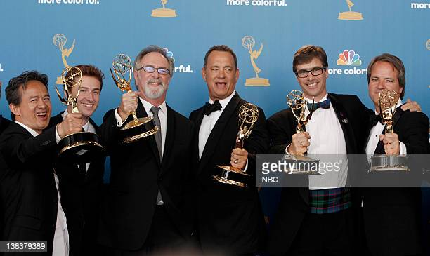 THE 62nd PRIMETIME EMMY AWARDS Pictured Executive producers Tony To Gary Goetzman actor Joseph Mazzello Tom Hanks Bruce C McKenna Graham Yost winner...