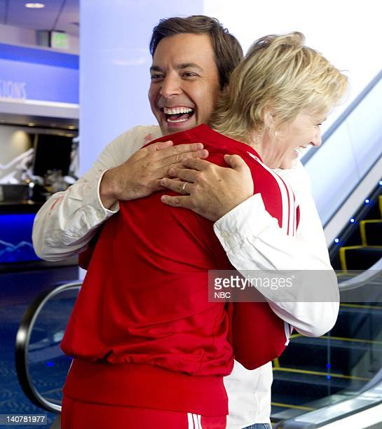 THE 62nd PRIMETIME EMMY AWARDS Pictured Jimmy Fallon Jane Lynch rehearse for the Primetime Emmy Awards at the Nokia Theatre LA on August 28 2010...