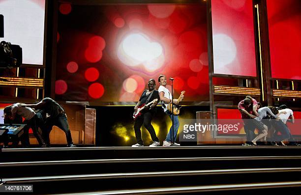 THE 62nd PRIMETIME EMMY AWARDS Pictured Randy Jackson Jimmy Fallon rehearse for the Primetime Emmy Awards at the Nokia Theatre LA on August 28 2010...