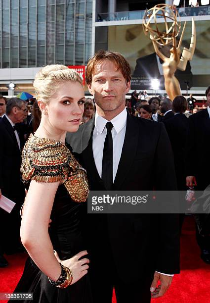 THE 62nd PRIMETIME EMMY AWARDS Pictured Stephen Moyer and Anna Paquin arrive at The 62nd Primetime Emmy Awards held at the Nokia Theatre LA Live on...
