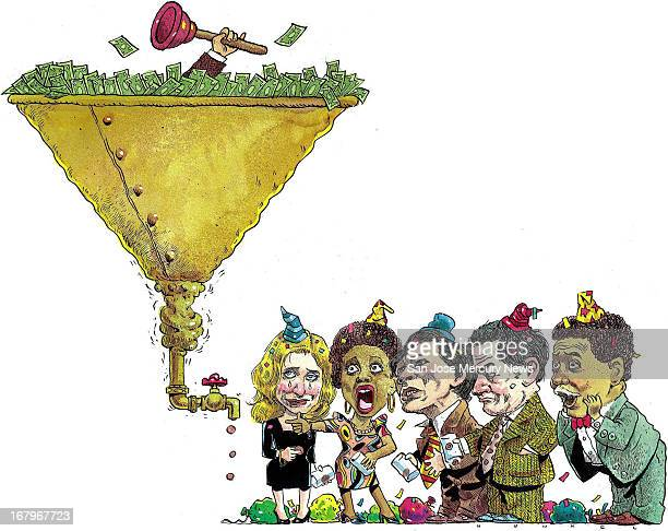 62p x 49p Jim Hummel color illustration of money or venture capital flowing into a clogged funnel pennies trickling from the bottom disappoint a...