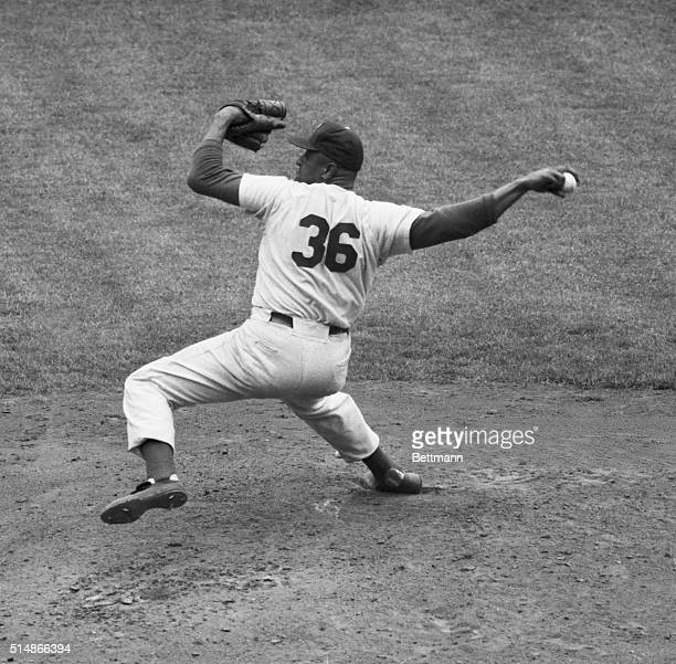 6/30/1955Don Newcombe Dodgers pitcher on the mound in action