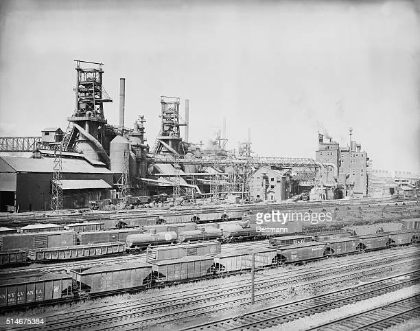 6/30/1956Youngstown OH An idle look came over the Youngstown sheet and tube works as a steel strike neared This mill produces some 4000 tons of pir...
