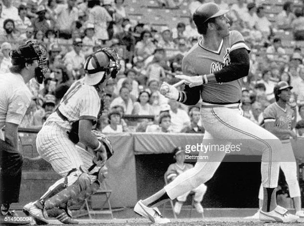 6/30/1978Atlanta GA Giants' Willie McCovey blasts his 500th career homerun in the top of the first during doubleheader action in Atlanta Braves'...