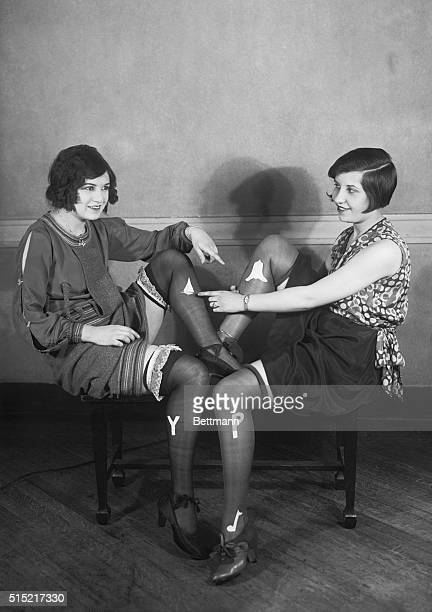 6/3/1926New York New YorkThe latest in college flapper stockings adorned with college letters a picture of the girl's hometown a note of the...