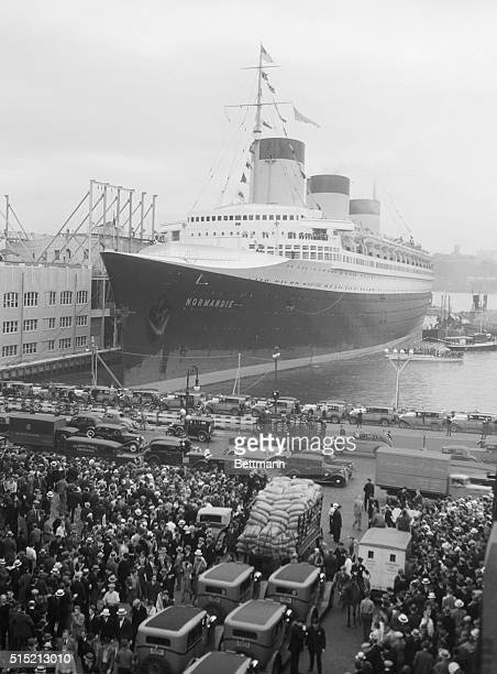 6/3/1935New YorkNY scne at Pier 88 North River NY the french liner Normandie pushed her 1029 feet of steel to the berth that was especially prepared...