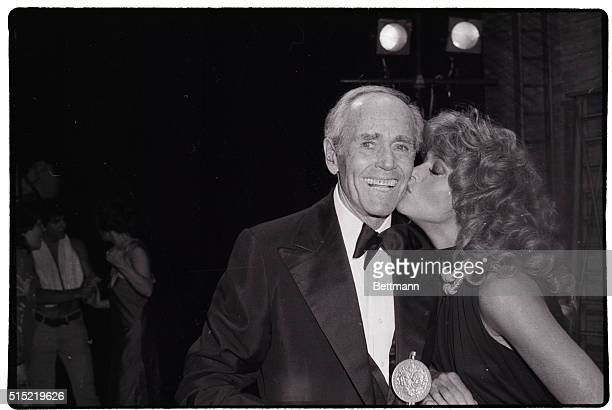 6/3/1979New York NYHenry Fonda gets a kiss from his daughter Jane after she presented him with a surprise Tony Award for his special unending...