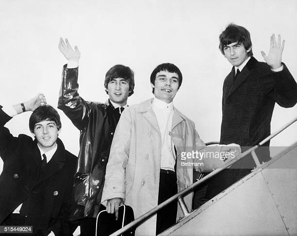 6/4/1964London England The Beatles minus drummer Ringo Starr flew from England for three days of touring in the Netherlands and Denmark Left to right...