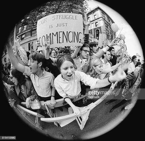 New York, NY- A fisheye view of some of the 1,500 student and parent demonstrators outside the Cathedral of St. John the Divine, during Columbia...