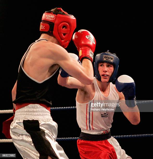 64kgs Jamie Cox beats Eddie Corcoran during the 117th Amateur Boxing Association Senior National Championships at the Wembley Conference Centre on...