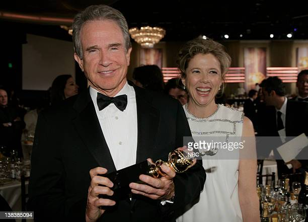 64th ANNUAL GOLDEN GLOBE AWARDS NBCU EXCLUSIVE Pictured Actor Warren Beatty recipient of the Cecil B DeMille Award and actress Annette Bening during...