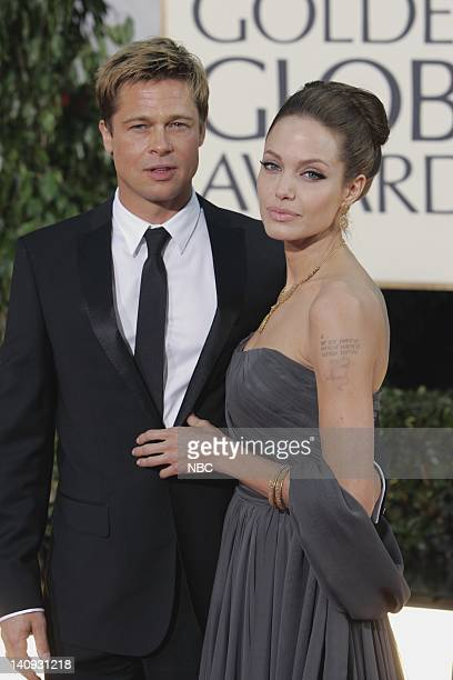 64th ANNUAL GOLDEN GLOBE AWARDS Pictured Brad Pitt and Angelina Jolie arrive at the 64th Annual Golden Globe Awards held at the Beverly Hilton Hotel...