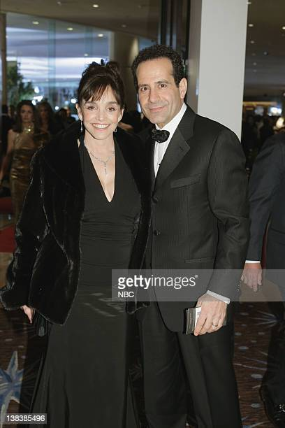 64th ANNUAL GOLDEN GLOBE AWARDS Pictured Brooke Adams and Tony Shalhoub during a candid moment at the 64th Annual Golden Globe Awards held at the...
