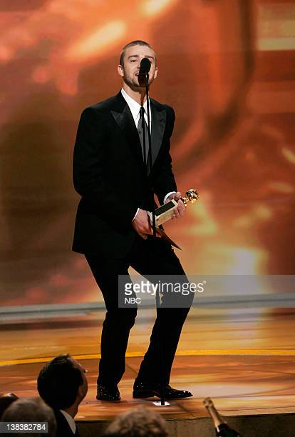 64th ANNUAL GOLDEN GLOBE AWARDS Pictured Justin Timberlake presenter Best Original Song Motion Picture on stage during the 64th Annual Golden Globe...