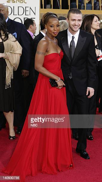 64th ANNUAL GOLDEN GLOBE AWARDS Pictured Mary J Blige and Justin Timberlake arrives at the 64th Annual Golden Globe Awards held at the Beverly Hilton...
