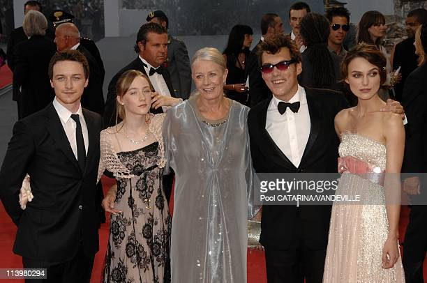 64th Venice Film Festival Opening Ceremony Premiere of the film 'Atonement' In Venice Italy On August 29 2007James McAvoy Saoirse Ronan Vanessa...