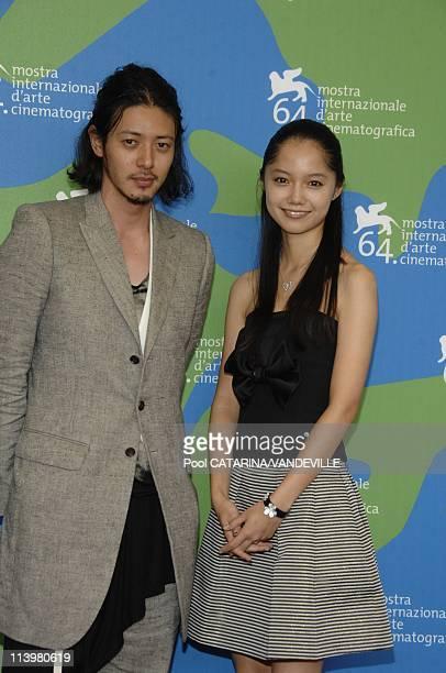 64th Venice Film Festival Photo call of the Japanese movie Sad Vacation In Venice Italy On August 31 2007Actress Aoi Miyazaki and actor Joe Odagiri