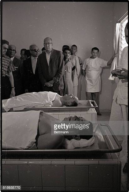 6/5/1961Cuidad Trujillo Dominican RepublicNewsmen are shown bodies of Antonio de la Maza Vasquez and Juan Thomas Diaz assassins of Rafael Trujillo...