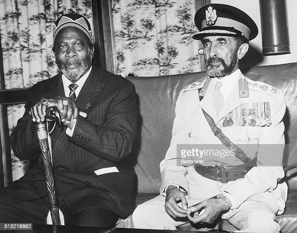 6/5/1964Nairobi KenyaKenya's Premier Jomo Kenyatta and Ethiopia's Emperor Haile Selassie are pictured at Nairobi Airport after the latter's arrival...