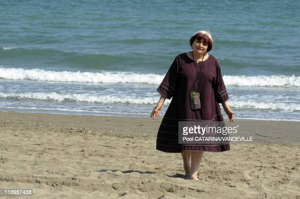 65th Venice International Film Festival Photocall of French director Agnes Varda on the Beach of the Hotel Excelsior In Venice Italy On September 02...