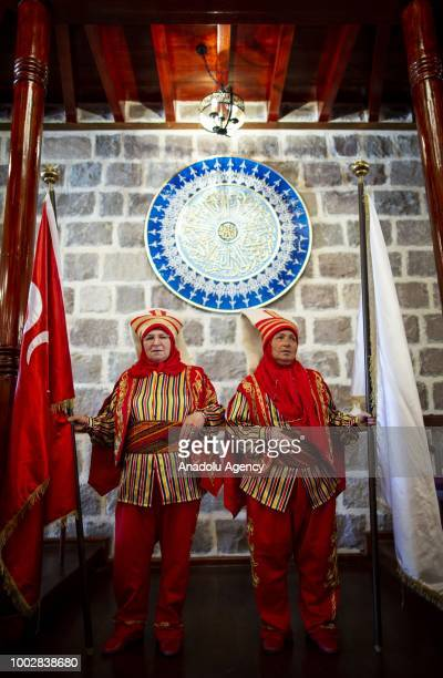 65yearold Kevser Bulubul and 63yearold Gulnaz Kalin perform during training session of the female Mehter team in Turkish capital Ankara Turkey on...
