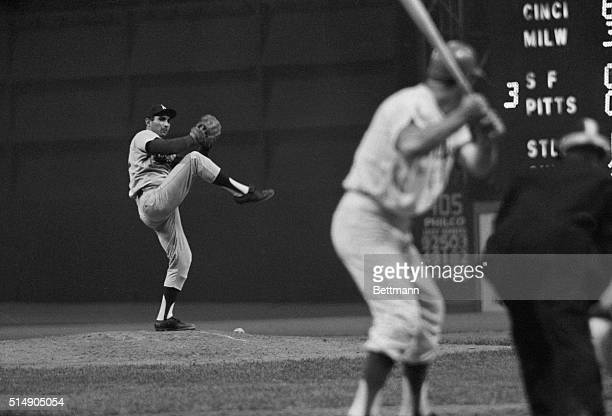 6/6/1964Philadelphia PA King of the Mount Sandy Koufax of the Los Angeles Dodgers knocks off the last of the Phillies' batters during the game here...