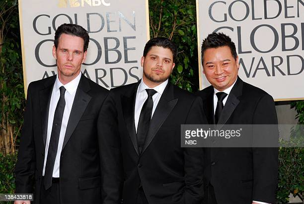 66th ANNUAL GOLDEN GLOBE AWARDS Pictured Cast of Entourage Kevin Dillon Jerry Ferrara and Rex Lee arrive at the 66th Annual Golden Globe Awards held...