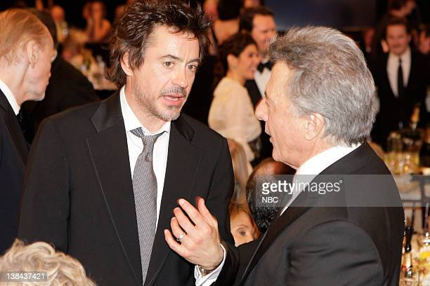66th ANNUAL GOLDEN GLOBE AWARDS Pictured Robert Downey Jr Dustin Hoffman during a candid moment at the 66th Annual Golden Globe Awards held at the...